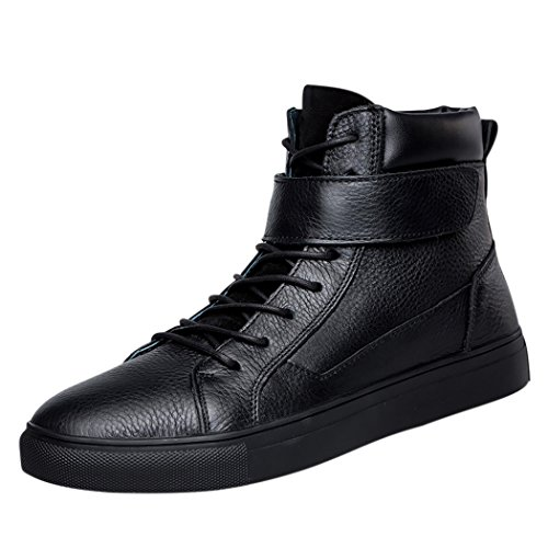 Pik & Clubs Herren Echt Leder Freizeit Fashion High Top Klettverschluss Flache Schnürschuhe Stiefel kurz, für vier Jahreszeiten, Schwarz, 40 Tack Ton