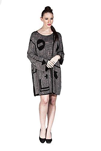 Designer Kleid Damen Tunika, Freizeitkleid Abendkleid schick verziert mit Steinen, in verschiedenen Farben �?auch Große Größen/PLUS SIZE Grau