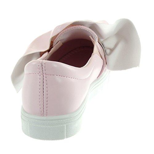 Angkorly - Scarpe da Moda Sneaker Tennis slip-on donna nodo Tacco tacco piatto 2.5 CM Rosa