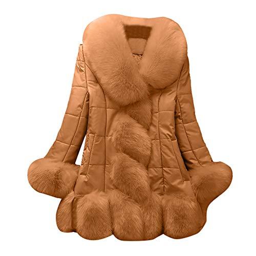 Mymyguoe Frauen Faux Pelzmantel Elegante warme Splice Oberbekleidung Lange Daunenjacke mit Fellimitat Jumper Outwear große Größe warme Lange Faux Wollmantel Kapuzenmantel