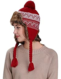 c130ae4c3c5ab QinMM Sombrero Grueso De Lana De Mujer con Orejeras