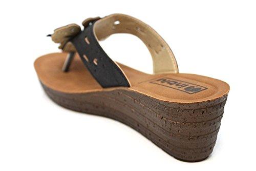 Inblu Damen Blume Mid Keil String Sommer Sandalen Größe UK 2–8 Schwarz