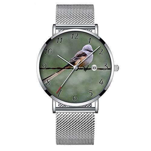 Minimalistische Mode Quarz-Armbanduhr Elite Ultra Thin Wasserdichte Sportuhr mit Datum mit Mesh-Band 167.Scherenschwanzschnäpper auf Stacheldraht -