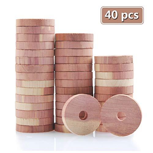 TIMESETL 40 Piezas Antipolillas de Madera de Cedro Discos Repelente Natural de Polillas Despensa para Armarios/Cajones/ Ambientador
