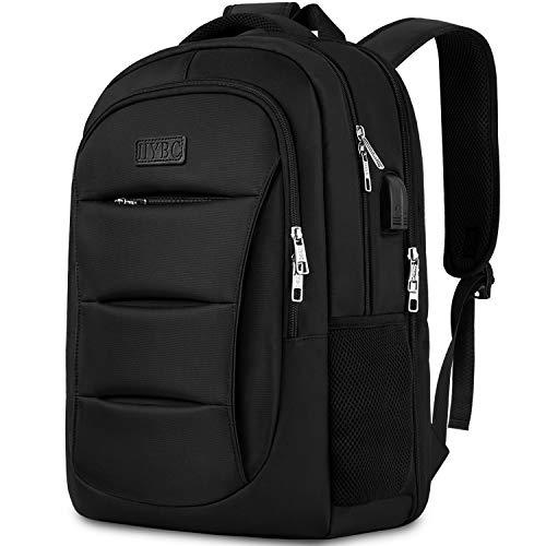 IIYBC Laptop Rucksack,15,6 Zoll Laptop Computer Reiserucksack mit USB-Ladeanschluss Anti-Diebstahl, Reisen/Business/Wandern/Camping/College/Frauen/Männer/Mehrweg-Schwarz
