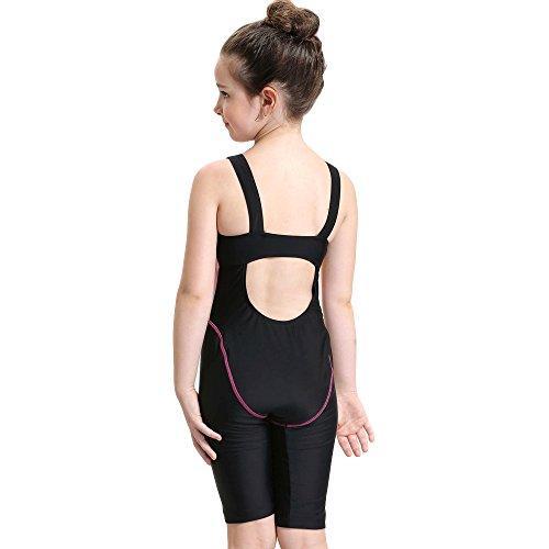 Bwiv Mädchen Badeanzug einteil mit Bein Kinder chlorresistent Wettkampf-Badeanzug Schwarz mit rosanen Streifen 131-145cm,10-12 Jahre