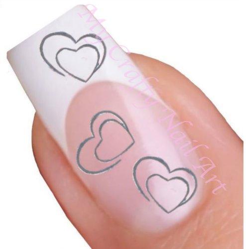 Coeur argentée pour ongles décalques à l'eau - Transfert Décalque à l'eau, tatoo