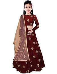 0731e384bf33 girl's Embroidery marun Semi Stitched Lehenga Choli(ees_cham kids marun01)