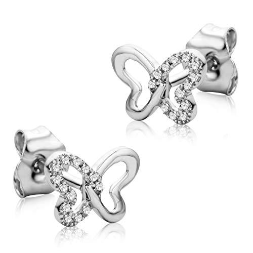 ce6aec8358 Orovi Orecchini Donna Cuore Piccoli a Lobo in Oro Bianco con Diamanti  Taglio Brillante Ct 0.04