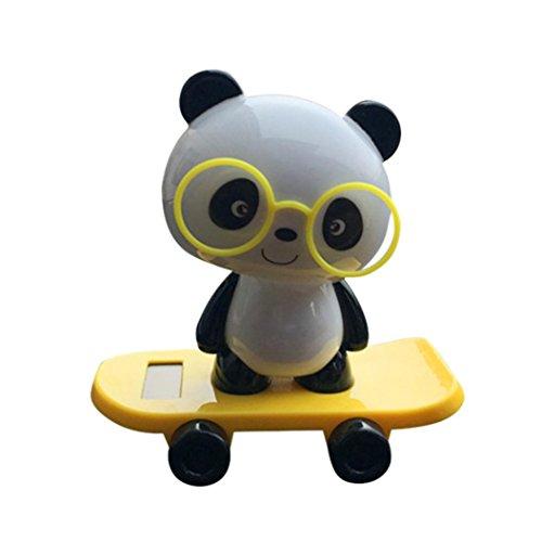 (Gaddrt Halloween Weihnachten Solarbetriebene Panda Tiere Tanz Swinging Spielzeug Animierte Bobble Tänzer Auto Dekor Büro Zuhause Deko Neu auto Spielzeug (Yellow))