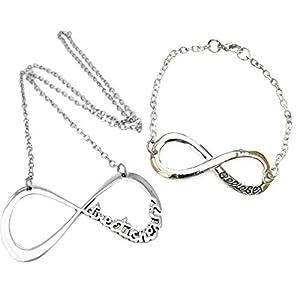 One Direction Silber ton Unendlichkeit Halskette und Armband Set