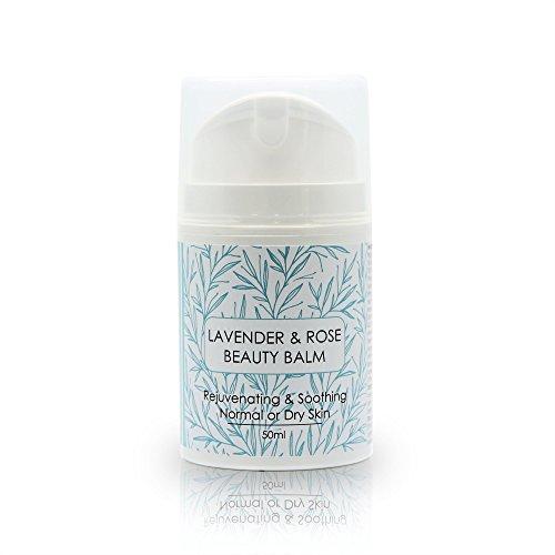 Lavendel & Rose Schönheitsbalsam 60ml Verjüngend und Beruhigend für Gesunde Haut Normale bis Trockene Haut Handgefertigt aus Natürlichen Reinen Kalt Gepressten Ätherischen Ölen -