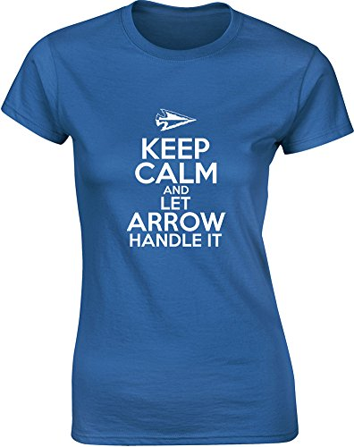 Keep Calm and Let Arrow Handle It, Gedruckt Frauen T-Shirt - Königsblau/Weiß XL = 92-97cm
