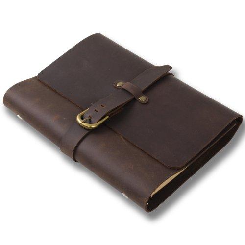 Leder-Notizbuch, einfach und klassisch, nachfüllbar, mit Riemen, liniertes Kraftpapier,mit Geschenk-Box A5(14.5x21cm) braun