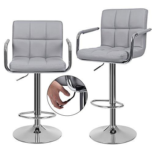 songmics 2 x barhocker mit armlehnen lehne grau die. Black Bedroom Furniture Sets. Home Design Ideas