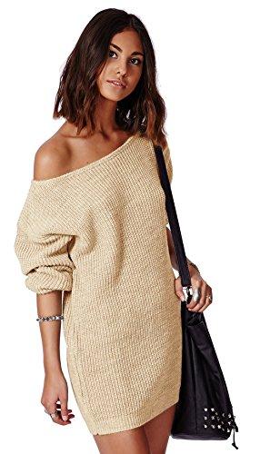 Mikos Damen Pullover LongPulli Strick Tunika Sweater Kleid Langarm Bluse S/M (614) (Beige)