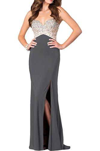 ivyd ressing robe haute qualité strass fente Spaghetti Prom Party robe robe du soir Silber