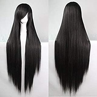 Womens Ladies Girls 100cm Black Color Long Straight Wigs High Quality Hair Carve Cosplay Costume Anime Party Bangs Full Sexy Wigs