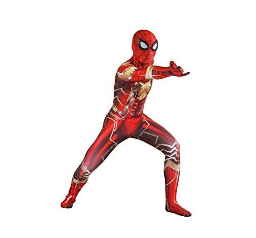QXMEI Superhero Steel Edition Spiderman Cosplay Overall Für Erwachsene Spielkostüm,Men-XXXL