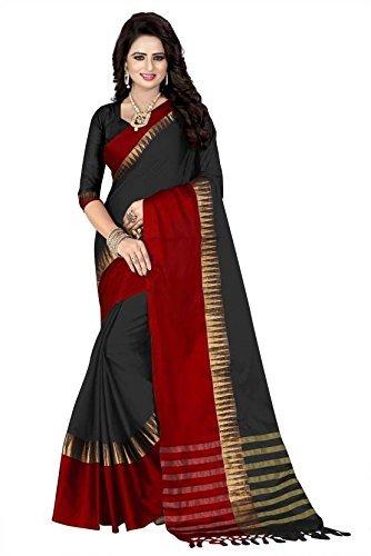 Calendar Cotton Silk Saree (Black, Free Size)