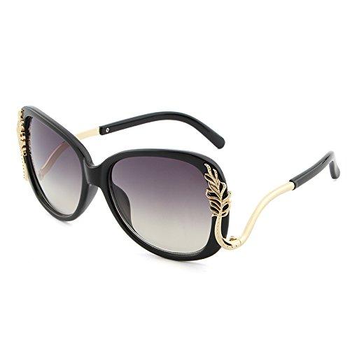 Hhpcspc Luxusmarke Designer Polycarbonat Sonnenbrille Frauen Retro Rosa Rot Metallrahmen Sonnenbrille UV400 (Color : Black)