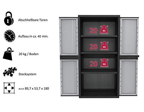 Kreher XXL Kunststoffschrank mit 3 höhenverstellbaren Böden und abschließbaren Türen. Maße BxTxH in cm: 89,7 x 53,7 x 180 cm -