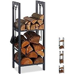 Relaxdays 10026017_943 Étagère à Bois de cheminée Acier, Anthracite, 100 x 40 x 30 cm