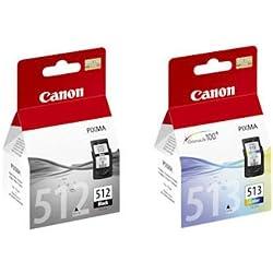 Canon Cartouche d'encre PG512(PG-512) noires et CL513(CL-513) couleurs pour imprimantes Pixma MP250