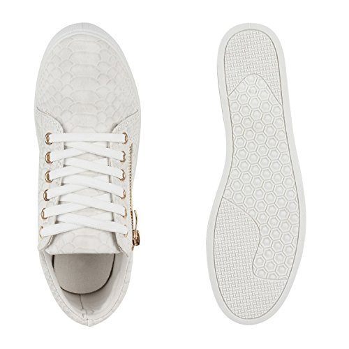 Moderne Damen Sneakers Lack Zipper Sportschuhe Freizeit Schuhe Grau