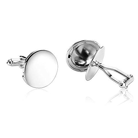 AnazoZ Mode Bijoux en acier inoxydable pour homme 1paire Boutons de manchette Uni Série Miroir Cercle Argent Boutons de manchette pour homme