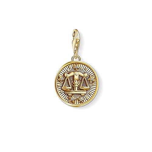 Thomas Sabo Damen Herren-Charm-Anhänger Sternzeichen Waage Charm Club 925 Sterling Silber vergoldet 1658-414-39
