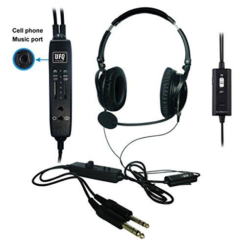Luftfahrt-Headset, active Schalltämpfung 28 dB, ANR UFQ A6, PJ-stecker (Aviation Headset)