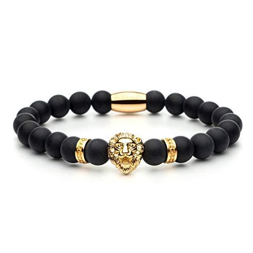 Voix Apparel® Löwen Armband für Herren & Frauen - Edles Herren Accessoire - Aus hochwertige & echten kratzfeste Onyx Perlen - Löwenkopf - Ideal als Geschenkidee geeignet (Gold Black)