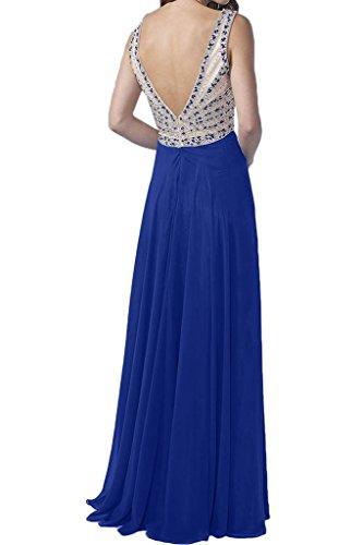 ivyd ressing robe simple V de Robe Mousseline de la découpe longue Party Prom robe Lave-vaisselle robe robe du soir Violet