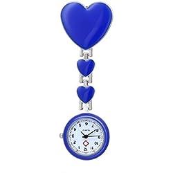 Nurses Fob Watch With Quartz Movement Brooch Pendant Pocket Watch Dark Blue
