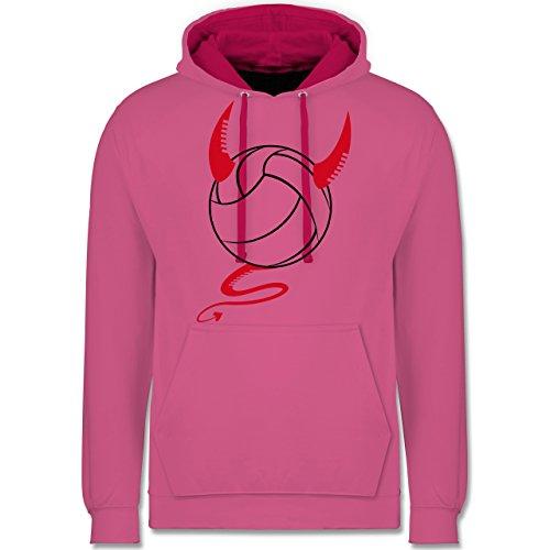 Shirtracer Volleyball - Teufel Volleyball Teuflischer - XXL - Rosa/Fuchsia - JH003 - Kontrast Hoodie