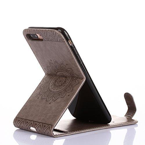 Hülle Schutzhülle iPhone 7 plus,SainCat iPhone 7 plus Case Ledertasche Brieftasche im BookStyle, iPhone 7 plus PU Leder Wallet Case Folio Schutzhülle Hülle Lederhülle Bumper Handytasche Skin Schale So Grau