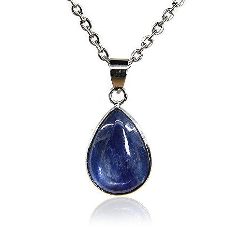 Amandastone, collana da 45,7 cm con ciondolo a goccia con pietra preziosa naturale di cianite di grado a da 18 mm