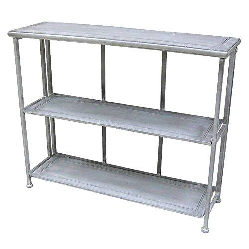 Better & Best 1401841 - Consola de hierro plegable, con 3 baldas, color gris , Metal, Color Gris, 91x29x76 cm