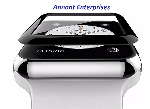Annant 3D Curved Edge 9H Hardened Tempered Glass for Apple Watch (42mm, Black)