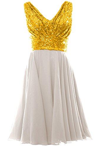 MACloth Women V Neck Sequin Chiffon Short Bridesmaid Dress Formal Evening Gown Gold-Ivory