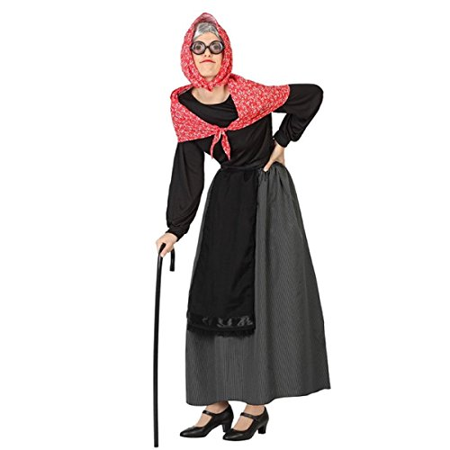 Imagen de mela proibita  traje abuela anziana mujer antiguo befana vieja dama disfraz de carnaval  negro, xs s
