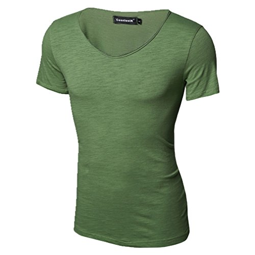 Honghu Herren Kurzarm Crewneck Casual T-Shirt Gras grün