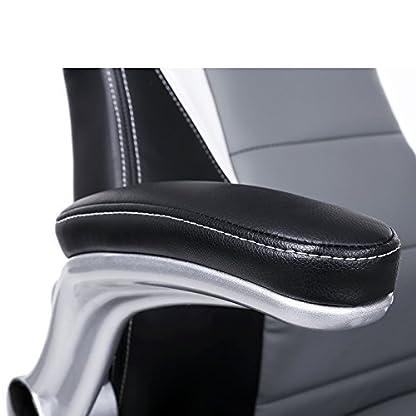 SONGMICS Silla Racing, Silla de Oficina, Apoyabrazos abatibles, Respaldo Alto, Altura Ajustable, Diseño ergonómico