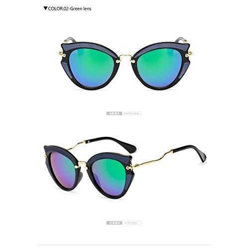 Taiyangcheng Metall Cat Eye Sonnenbrillen Frames Frauen Twist Curve Leg Spectacles Triangle,grüne Linse