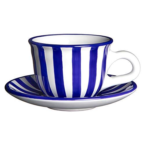 City to Cottage | Tasse et sous tasse à café, à thé | à rayures bleu marine et blanches en céramique faite et peinte à la main | 250ml