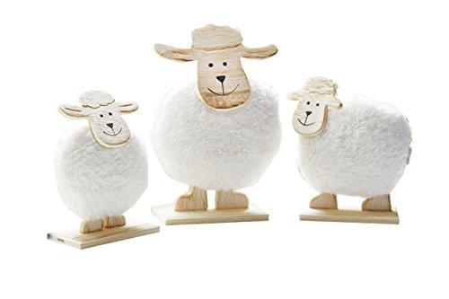 Heitmann Deco - Schaf-Familie aus Holz - 3er Set - süße Deko für Ostern und Frühling - Holz-Figuren