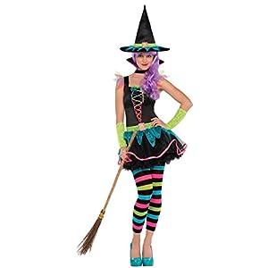 Christys London Disfraz de Bruja neón para niñas y Adolescentes en Varias Tallas Halloween