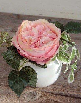 artplants Künstliche Rose mit Hartriegel Fiona im Keramiktopf, rosa, 20c m, Ø 17 cm - Kunstblume/künstliche Blumen (Hartriegel-künstliche Blume)