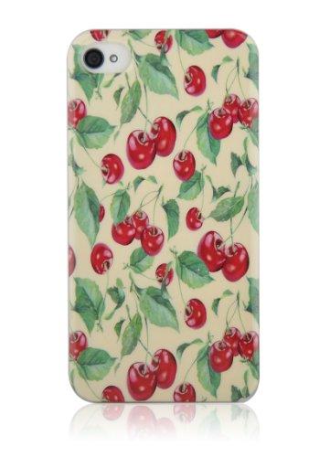 JAMMYLIZARD   Coque iPhone 4s - Coque iPhone 4 back cover ridige original papillons fleurs argenté, Blanc & argent Vintage - CERISES